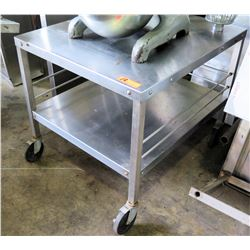 "Rolling Stainless Steel Utility Table w/ Undershelf 27""W x 32""D x 26.5""H"
