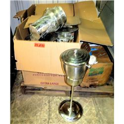 Qty 10 Stainless Steel Ice/Wine Buckets w/ Lids on Pole Base