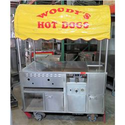 "Rolling Hot Dog Cart w/ Canopy 58""W x 35""D x 78""H"