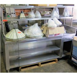 Stainless Steel Counter w/ 2 Tops Shelves & 2 Undershelves & Drain Area