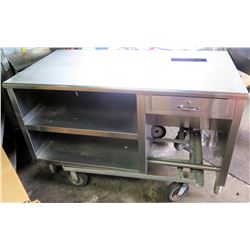 """Mobile Stainless Steel Utility Table w/ 2 Undershelves & Locking Drawer 5'W x 31""""D x 39""""H"""