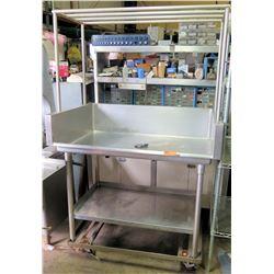 "Mobile Stainless Steel Prep Table w/ Drail Hole, Overhead Rack & Undershelf 4'W x 32""D x 74.5""H"
