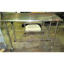 Stainless Steel Work Table w/ Wire Rack Undershelf on Wheels