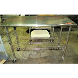 """Rolling Stainless Steel Utility Table w/ Wire Rack 50""""'W x 2'D x 40""""H"""