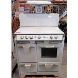 "O'Keefe & Merritt 4-Burner Gas Range, Oven & Warming Cabinets 34.5""'W x 28.5""D x 5'H"