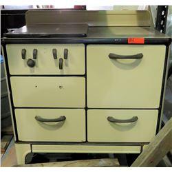 Vintage Range Covered 4 Gas Burner Stove, Oven & Warming Cabinets