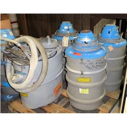 Qty 5 Industrial Vacuum Cleaners - 1 w/ Attachments