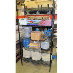 Black 5-Tier Metal Wire Shelf w/ Contents - Plates, Metal Bowls, Wood Utensils, etc