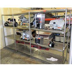 Stainless 3-Section 3-Tier Storage Shelf w/ Metal Open Racks