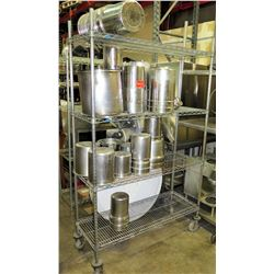 Rolling Shelving Unit (w/ bad wheel) & Contents - Stainless Steel Pots & Containers