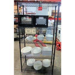 "Black Metal Wire Shelving Unit & Contents - Misc Size Square & Round Plates, etc 35""W x 18""D x 73""H"
