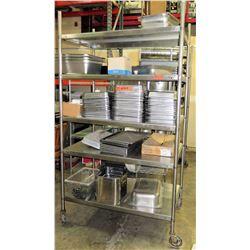 Rolling Stainless Steel 4 Tier Shelf w/ Adjustable Metal Shelves (Shelf Only)