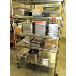 Contents of Shelf - Stainless Steel Rectangle Pans, Divided Warmers, Steamers, etc