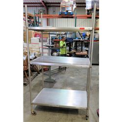 Rolling Stainless Steel 3 Tier Shelf w/ Adjustable Metal Shelves