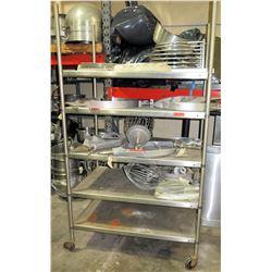 Rolling Stainless Steel 5 Tier Shelf w/ Adjustable Metal Shelves (Shelf Only)
