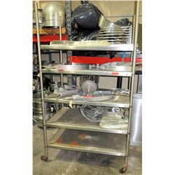 Rolling Stainless Steel 5-Tier Shelving Unit w/ Adjustable Metal Shelves (Shelf Only). Contents not