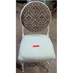 Qty 14 White Metal Chairs w/ Brown Paisley Back & Green Striped Upholstered Seat