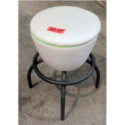 Qty 10 Round White Upholstered Stools w/ Black Metal Legs