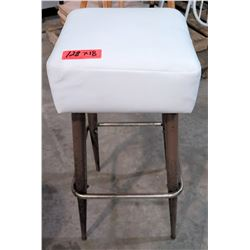 Qty 18 Retro Square White Upholstered Stools w/ Metal Legs