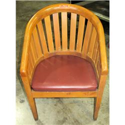 Qty 8 Brown Curved Wooden Chairs w/ Red Upholstered Seat