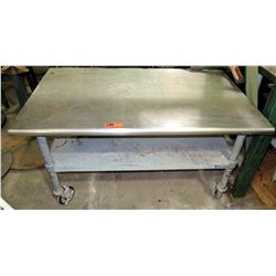 Rolling Stainless Steel Work Table w/ Undershelf