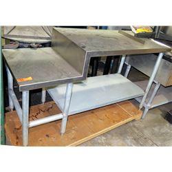 Offset Stainless Steel Countertop Shelf Unit w/ Undershelf