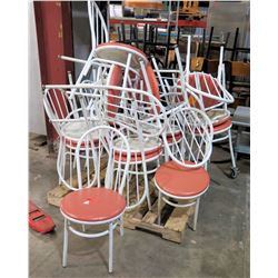 Qty 17 Waymar Round Bistro Chairs w/ White Metal Framer & Upholstered Seat