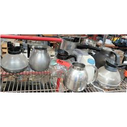 Multiple Misc Glass & Stainless Steel Coffee Pots Dispensers