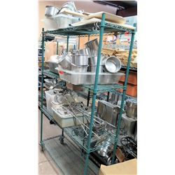 Green Metal Wire Shelving Unit & Contents: Pots, Ice Cream Topping Dispenser, etc