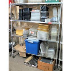Rolling Stainless Steel 3 Tier Shelf w/ Adjustable Metal Shelves (Shelf Only)