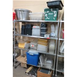 Contents of Shelf: Multiple Plastic Food Storage Containers w/ Lids, Steel Pans, etc