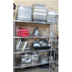 Contents of Shelving Unit:Multiple Plastic Food Storage Containers, Steel Pans, etc