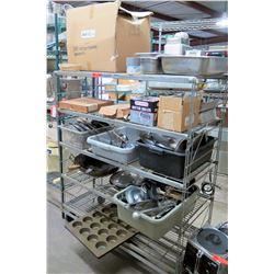 Metal Wire 4 Tier Shelf & Contents - Muffin Tins, Woks, Sieves, Utensils, etc