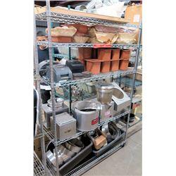 Metal Wire 4-Tier Shelving Units & Contents: Nemco Soup Warmers, Receipt Printers, Pots, etc