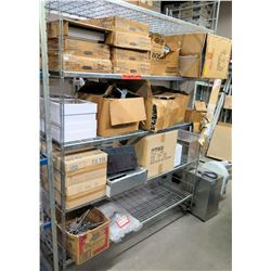 Metal Wire 4-Tier Shelving Unit & Contents: Cases White Lids, Foam Take Out Containers, etc