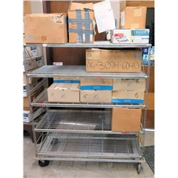 Rolling Metal Wire 3 Tier Adjustable Shelf & Contents - Glassware, Ramekins, etc