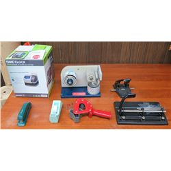 Misc Office Supplies: Time Clock, Hole Punch, Tape Dispensers, etc