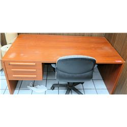"Wooden Office Desk w/ 3 Drawers & Rolling Armchair 65""'W x 31.5""D x 28.5""H"