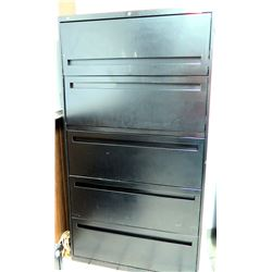 "Black Metal 5-Drawer Lateral File Cabinet 67""W x 3'D x 19.5""H"