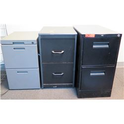 Qty 3 Metal & Plastic 2-Drawer Vertical File Cabinets