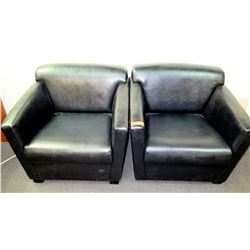 "Qty 2 Black Leather-Like Upholstered Club Chairs 39.5""'W x 29.5""D x 27.5""H"