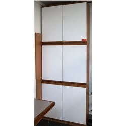 Tall Laminate & Wood 6-Door Cabinet w/ Adjustable Shelving