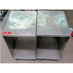 Qty 2 Rolling Stainless Steel Work Table Cabinets w/ Open Front