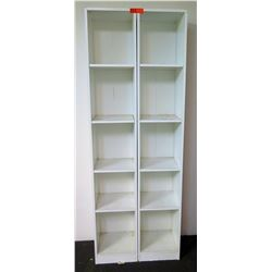 Qty 2 Tall White Shelves w/ 5 Compartments