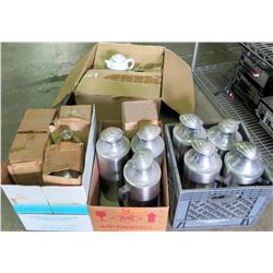 Qty 7 Stainless Steel Carafes, Porcelain Tea Pots w/ Strainers, etc