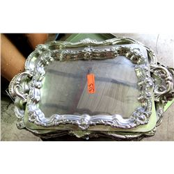 Qty 4 Serving Trays w/ Ornate Design & Handles