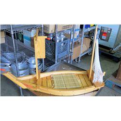 Decorative Wood & Bamboo Boat w/ Netting