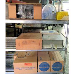 Qty 8 Cases Bradley Toilet Tissue Dispensers, Sanitary Napkin Disposal, etc