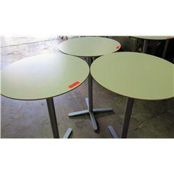 Qty 3 Round Tables w/ Metal Pedestal Base