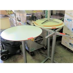 Qty 3 Round Tables w/ Metal Pedestal Base + 1 Extra Base